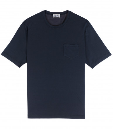 T-SHIRT DARK BLUE COTTON CRÊPE