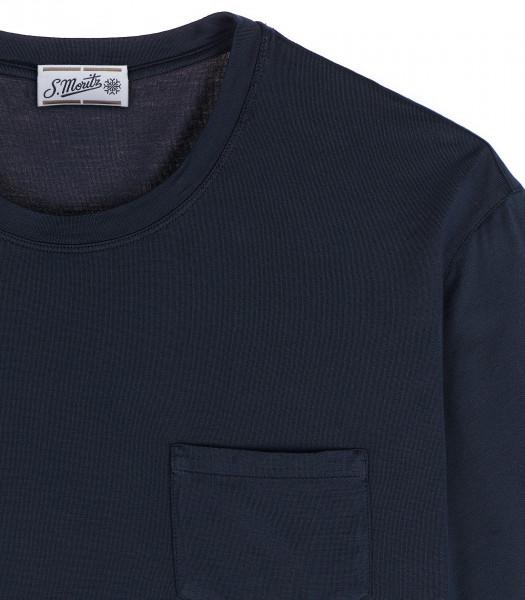 S.Moritz T-shirt blu cotone crepe maniche corte