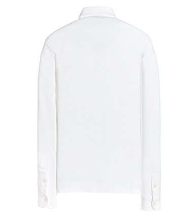 WHITE SHIRT LONG SLEEVE STRAIGHT FIT IN VINTAGE PIQUET