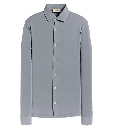 GREY SHIRT LONG SLEEVE STRAIGHT FIT IN VINTAGE PIQUET