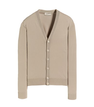 BEIGE CARDIGAN WITH BUTTON LONG SLEEVE CREPE SHAVED
