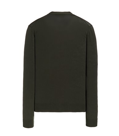 GREEN CARDIGAN WITH BUTTON LONG SLEEVE CREPE SHAVED
