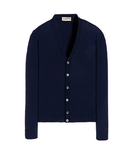 BLUE CARDIGAN WITH BUTTON LONG SLEEVE CREPE SHAVED