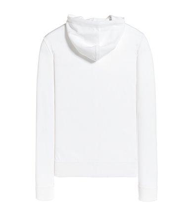 WHITE HOODED FULLZIP SWEATSHIRT LONG SLEEVE CREPE POCKET