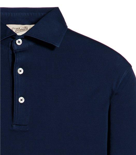 polo-blu-manica-corta-jersey-vintage