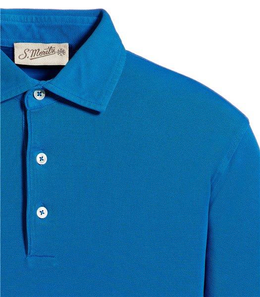 polo-blu-manica-corta-piquet-vintage