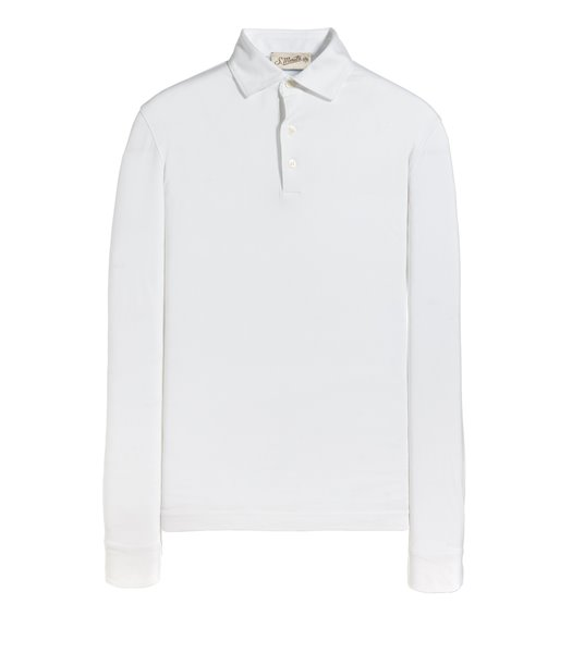 WHITE POLO LONG SLEEVE JERSEY VINTAGE