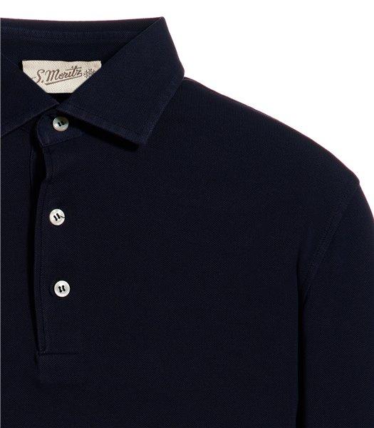 polo-blu-manica-lunga-piquet-vintage