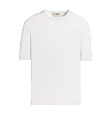 WHITE T-SHIRT SHORT SLEEVE JERSEY CREPE