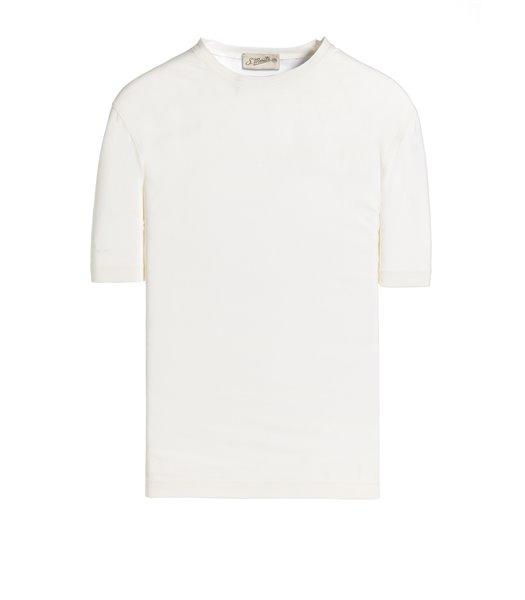 WHITE T-SHIRT SHORT SLEEVE JERSEY CREPE