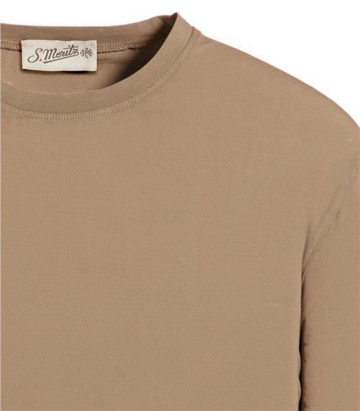 t-shirt-beige-manica-corta-jersey-crepe