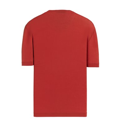 RED T-SHIRT SHORT SLEEVE JERSEY CREPE