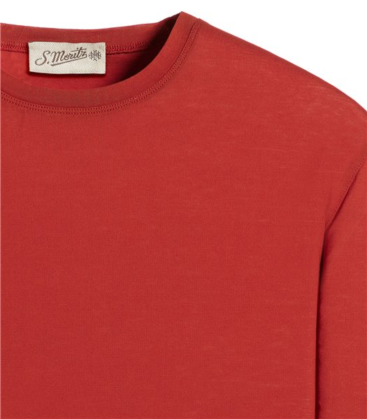 t-shirt-rosso-manica-corta-jersey-crepe