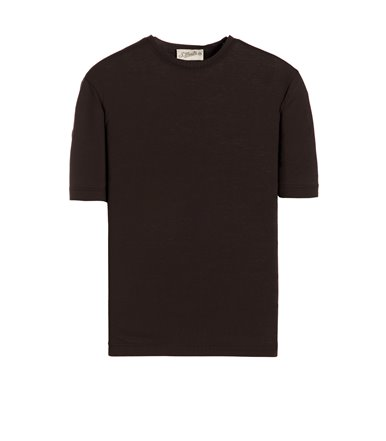 BROWN T-SHIRT SHORT SLEEVE JERSEY CREPE
