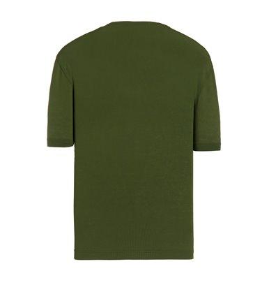 GREEN T-SHIRT SHORT SLEEVE JERSEY CREPE