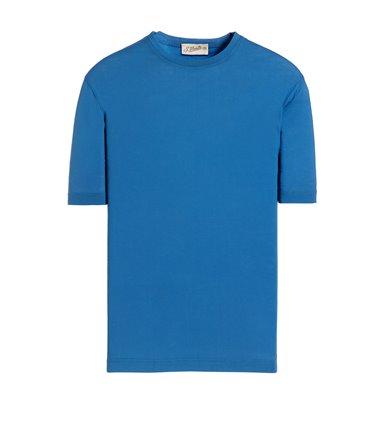 LIGHT BLUE T-SHIRT SHORT SLEEVE JERSEY CREPE