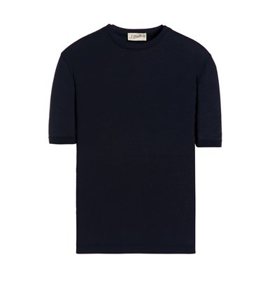 BLUE T-SHIRT SHORT SLEEVE JERSEY CREPE