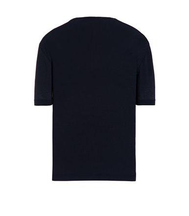 BLUE T-SHIRT SHORT SLEEVE JERSEY CREPE