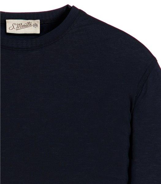 t-shirt-blu-manica-corta-jersey-crepe