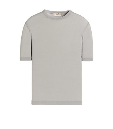 GREY T-SHIRT SHORT SLEEVE JERSEY CREPE