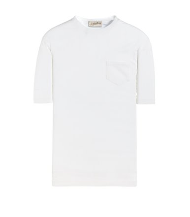 WHITE T-SHIRT SHORT SLEEVE WITH JERSEY VINTAGE POCKET
