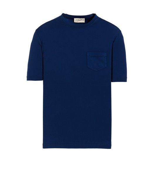 BLUE T-SHIRT SHORT SLEEVE WITH JERSEY VINTAGE POCKET