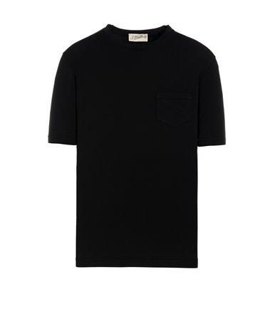 BLACK T-SHIRT SHORT SLEEVE WITH JERSEY VINTAGE POCKET