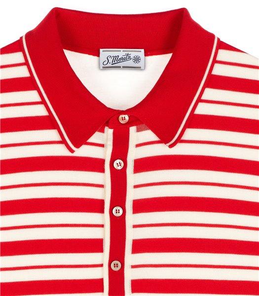 maglia-polo-uomo-manica-corta-cotone-righe-panna-e-rosso