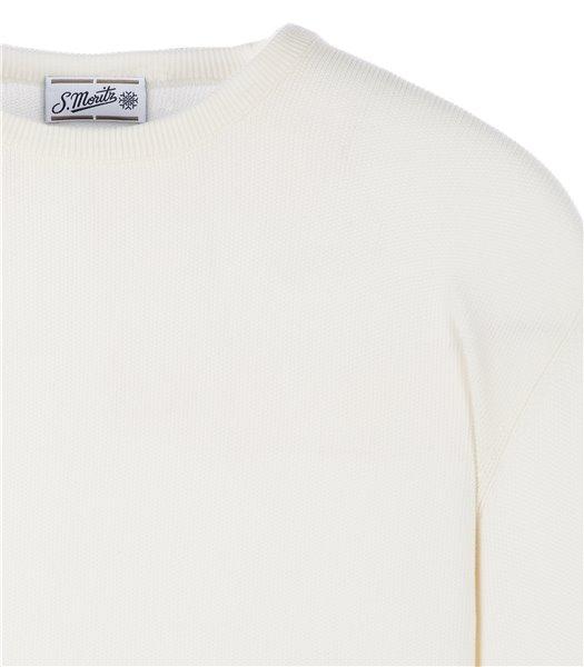 maglia-uomo-girocollo-manica-lunga-cotone-bianco