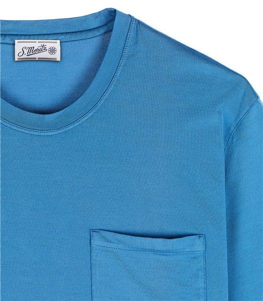 t-shirt-uomo-con-tasca-manica-corta-cotone-azzurro-avio