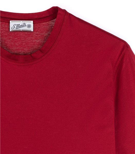 t-shirt-uomo-manica-corta-cotone-rosso-carminio