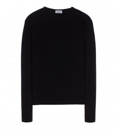 Girocollo misto lana seta nero