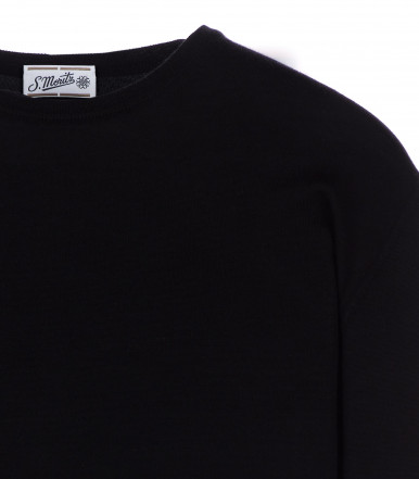 Round-neck silk-wool blend black