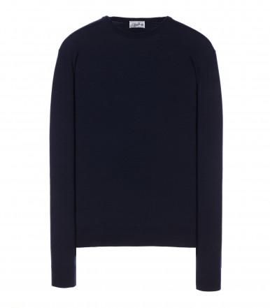 Round-neck silk-wool blend dark blue