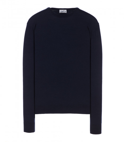 Round-neck silk-wool blend dark blue