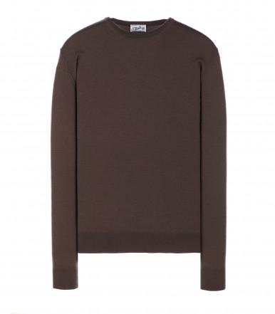 Round-neck silk-wool blend mink brown