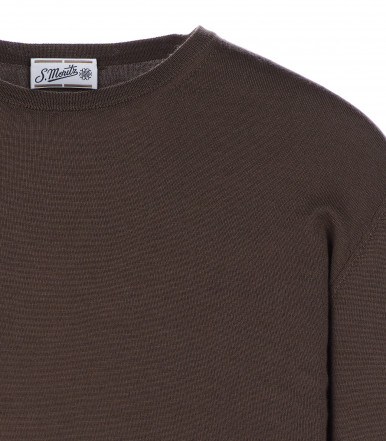 Round-neck silk-wool blend mink brown