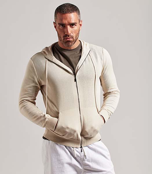 Maglia uomo full zip in cotone beige