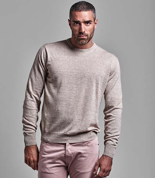 Pullover girocollo uomo lino e cashmere beige