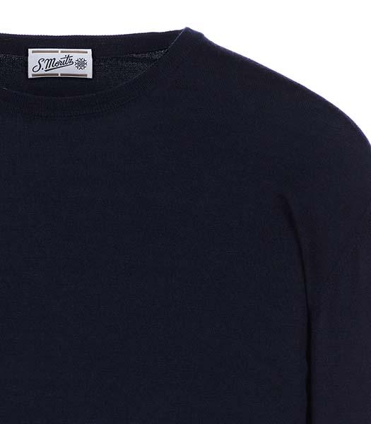 Maglia girocollo in lana e seta blu notte