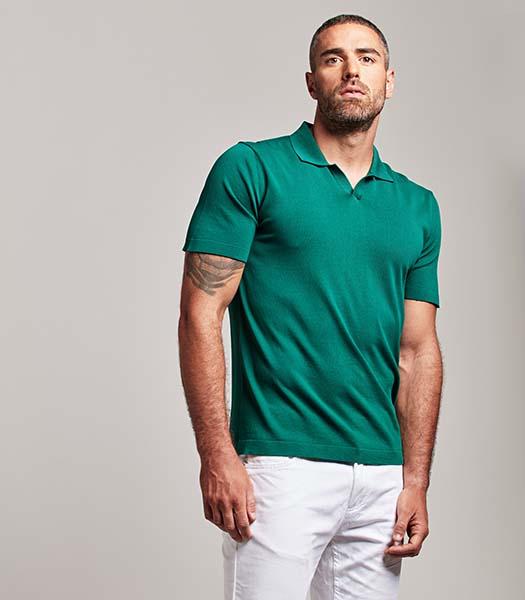 Polo a manica corta verde smeraldo