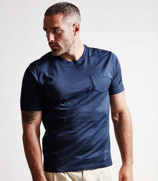 T-shirt con taschino cotone blu notte