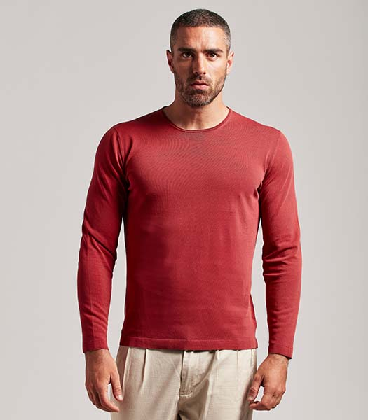 T-shirt girocollo manica lunga cotone