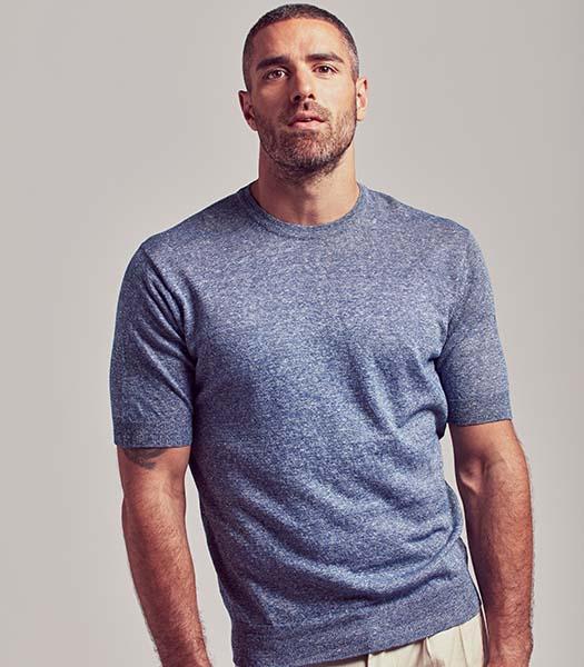 T-shirt uomo a manica corta in lino e cotone
